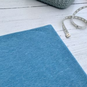 Blue Flecked Cotton Lycra Jersey Knit Fabric