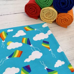 Rainbow Kites Caboodle Textiles Exclusive Cotton Lycra Jersey Knit Fabric