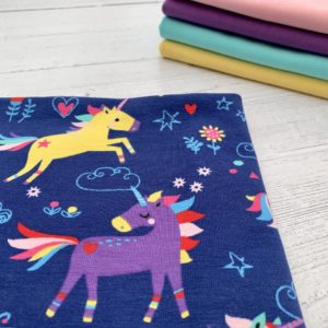 Navy Unicorn Cotton Lycra Jersey Knit Fabric