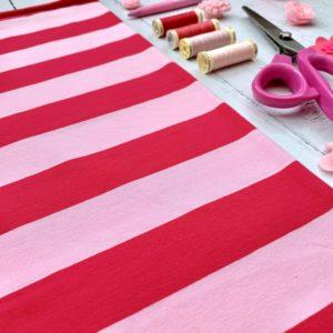 Pink on Pink Wide Stripes Cotton Lycra Jersey Knit Fabric