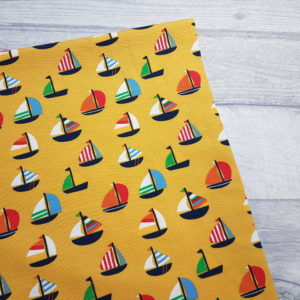 Yellow Sail Boats Jersey Knit Fabric