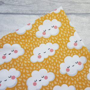 Rain Clouds Yellow Cotton Lycra Jersey Fabric