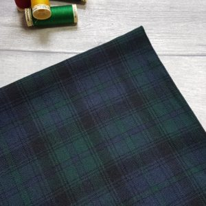 Tartan Black Watch Green Navy Low Stretch Viscose