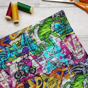 Graffiti Wall Cotton Jersey Knit Fabric